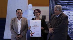 Francisco Morales Santos (Director de Editorial Cultura), Marilinda Guerrero  y Max Araujo (Viceministro de Cultura y Deportes hasta 2017). Foto: Mehalcar Álvarez / MCDG, del 6 de septiembre de 2017.